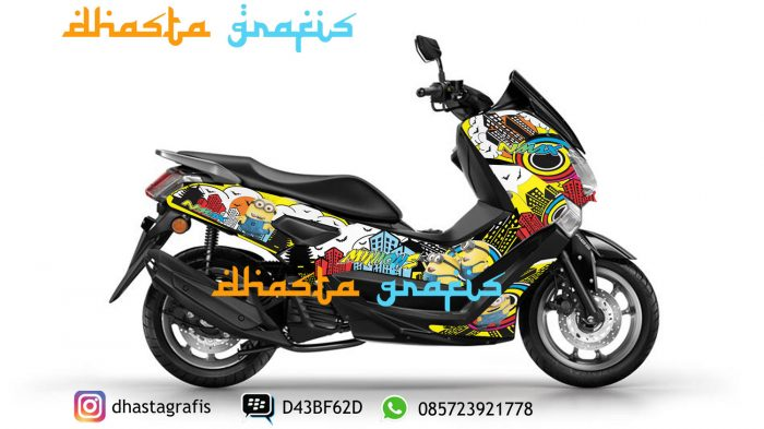 Cutting-sticker-yamaha-nmax-hitam-minion-full-body-print