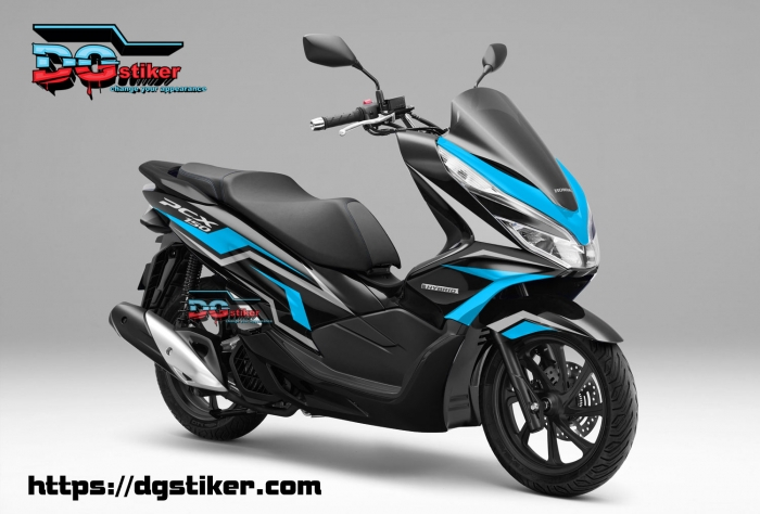 Decal-Sticker-Honda-Pcx-New-2018-Lokal-Warna-Hitam-biru-langit-tajam