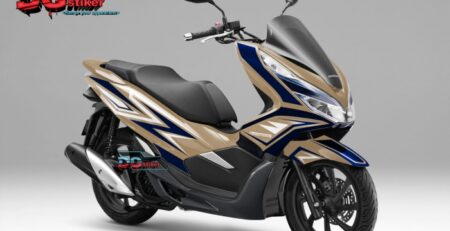 Decal-striping-pcx-150-lokal-gold-ori--biru-dongker