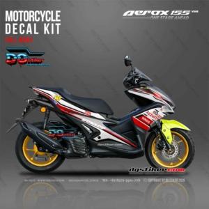 Modifikasi Decal Sticker Yamaha Aerox 155 VVA black aprilia 46 livery