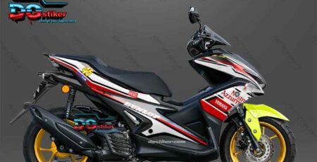 Modifikasi Decal Sticker Yamaha Aerox 155 VVA black aprilia 46 livery