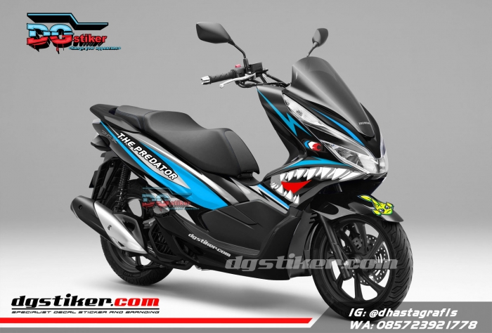 Decal-Sticker-Honda-Pcx-New-2018-Lokal-Warna-hitam-Hiu-shark-DG-Stiker