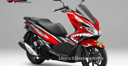 Decal-Sticker-Honda-Pcx-New-2018-Lokal-Warna-hitam-Merah-Hiu-shark-DG-Stiker