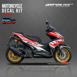 Modifikasi Decal Striping Yamaha Aerox 155 VVA Merah Sporty