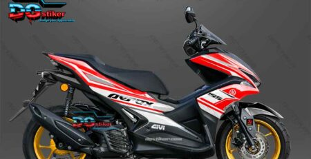 Modifikasi Decal Striping Yamaha Aerox 155 VVA Merah Sporty