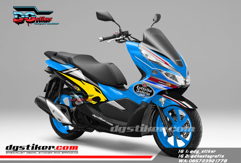 Decal Sticker Honda Pcx New 2018 Lokal Warna Biru Livery Marc VDS DG Stiker