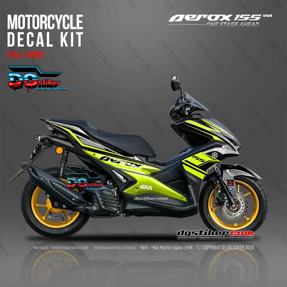 Decal printing Aerox 155 Black Green DG Stiker