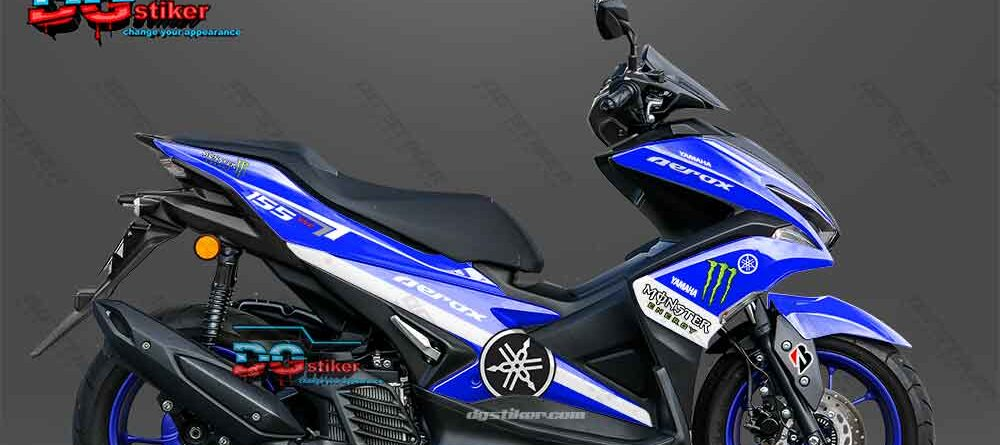 Decal sticker Aerox 155 Monster Energy Biru DG Stiker