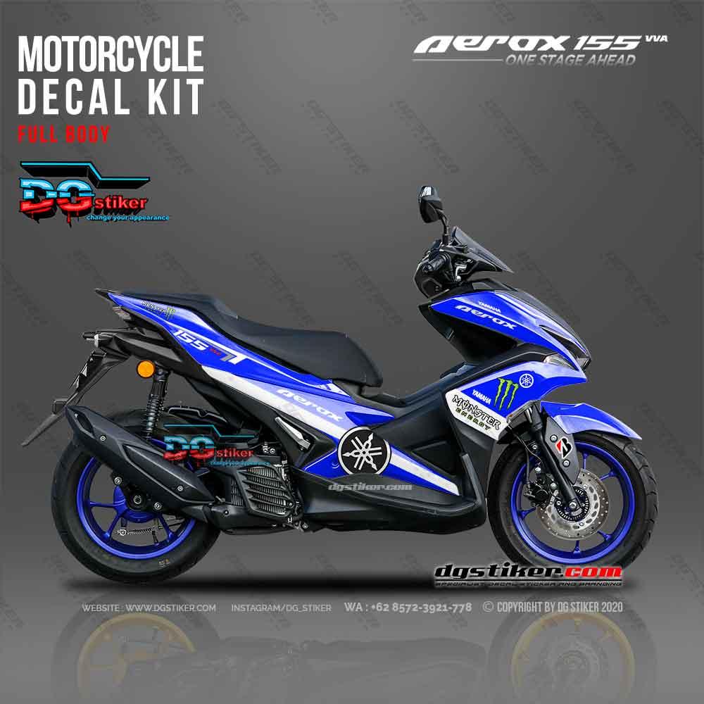 Decal sticker Aerox 155 Monster Energy Biru DG Stiker