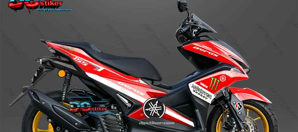 Decal sticker Aerox 155 Monster Energy Merah Putih DG Stiker