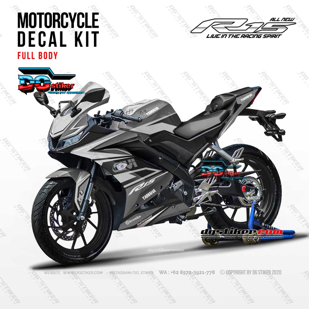 Modif Striping Full Body R15 V3 GIVI Silver DG Stiker