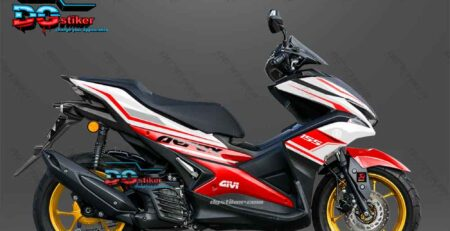 Sticker Decal Aerox 155 Putih Merah DG Stiker