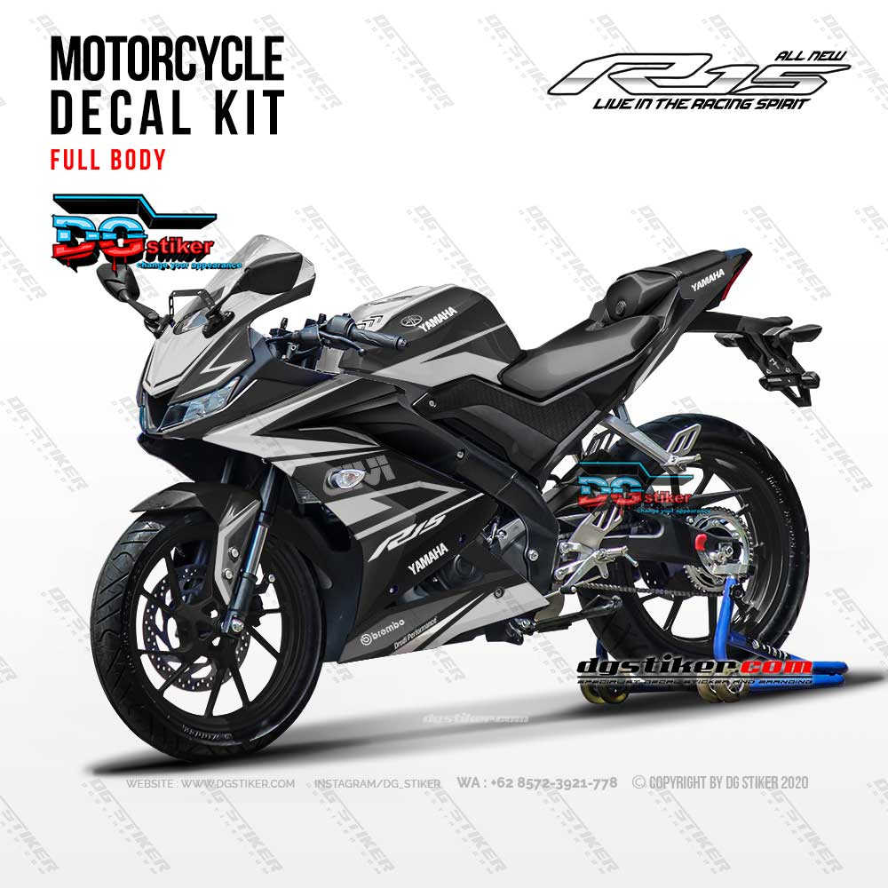 Sticker Decal Full Body R15 V3 GIVI Hitam DG Stiker