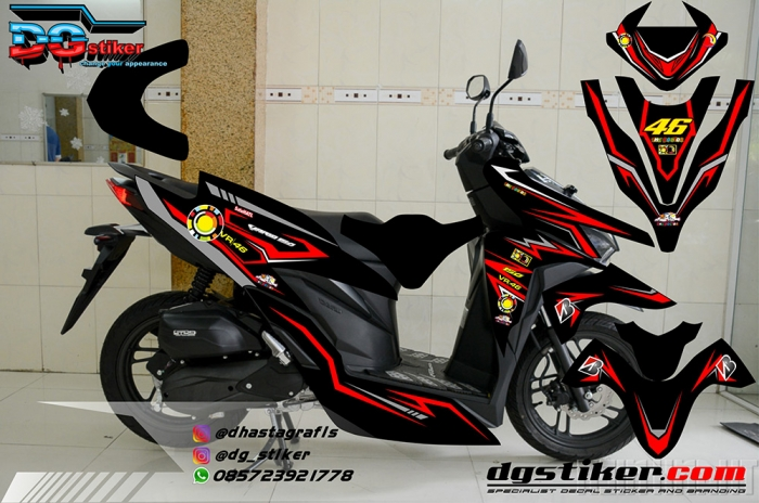 Striping Full Body Vario 150 2018 hitam merah DG Stiker