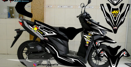 Striping Full Body Vario 150 2018 hitam putih DG Stiker