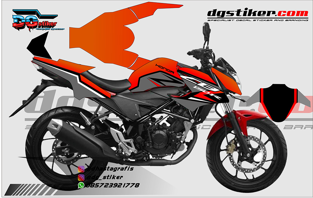 Modifikasi HONDA ALL NEW CB 150 R Orange Sporty DG Stiker
