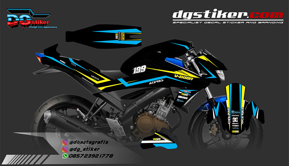 Striping All New Vixion Full Body Racing Blue DG Stiker