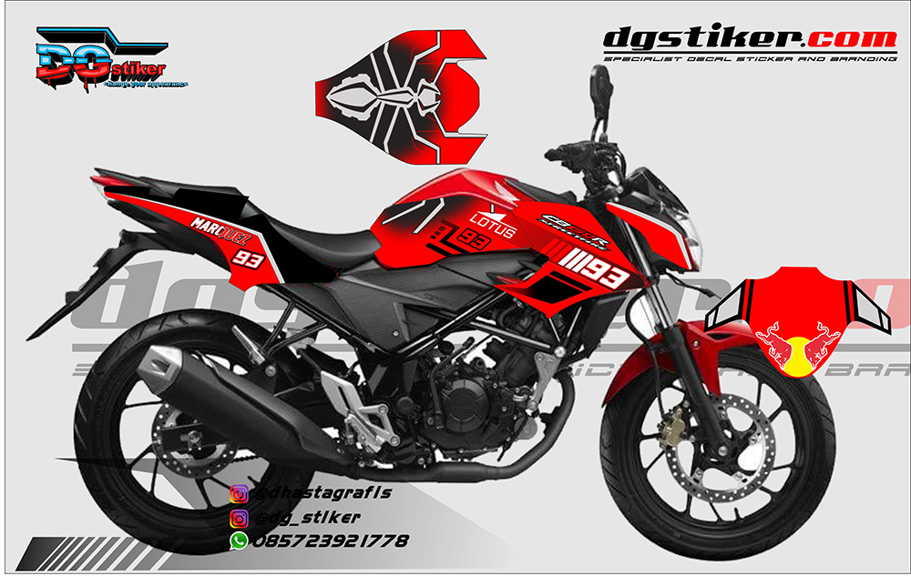 Striping Decal Modifikasi CB150R Semut Marq Marquez DG Stiker