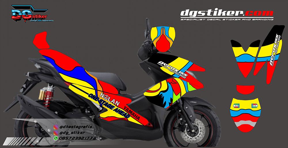 Striping Full Body Aerox 155 Merah Kuning Biru DG Stiker