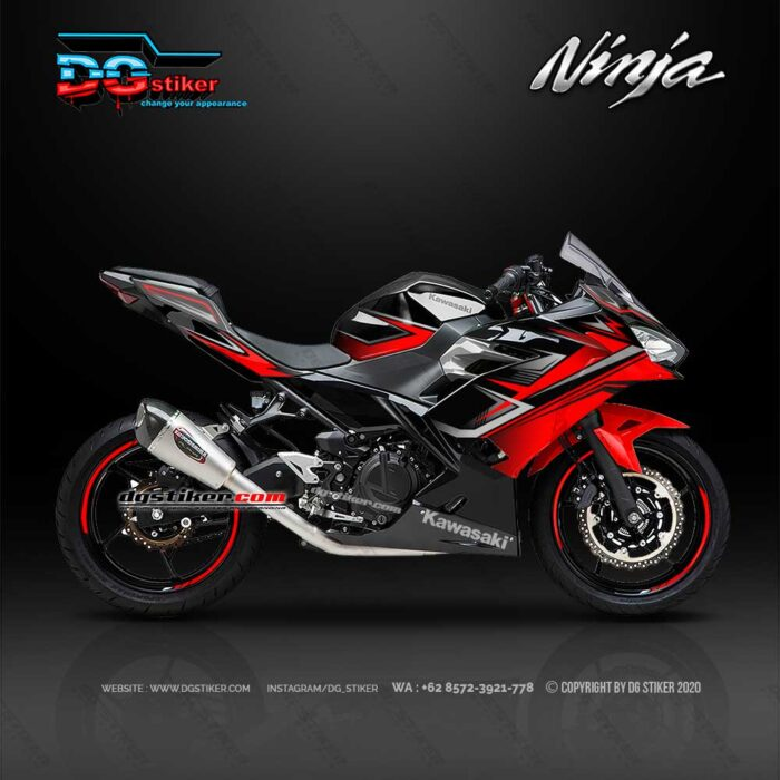Decal Striping Full Body All New Ninja 250R 2018 Warna Hitam Merah Racing Hitech DG Stiker