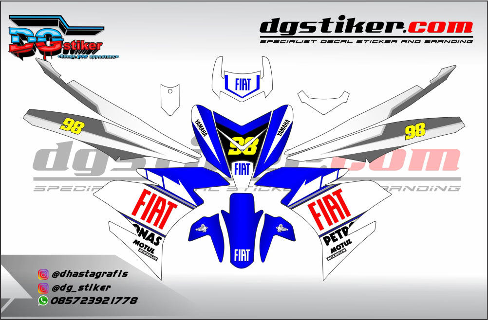 Decal Striping Jupiter Mx King Biru Putih FIAT DG Stiker