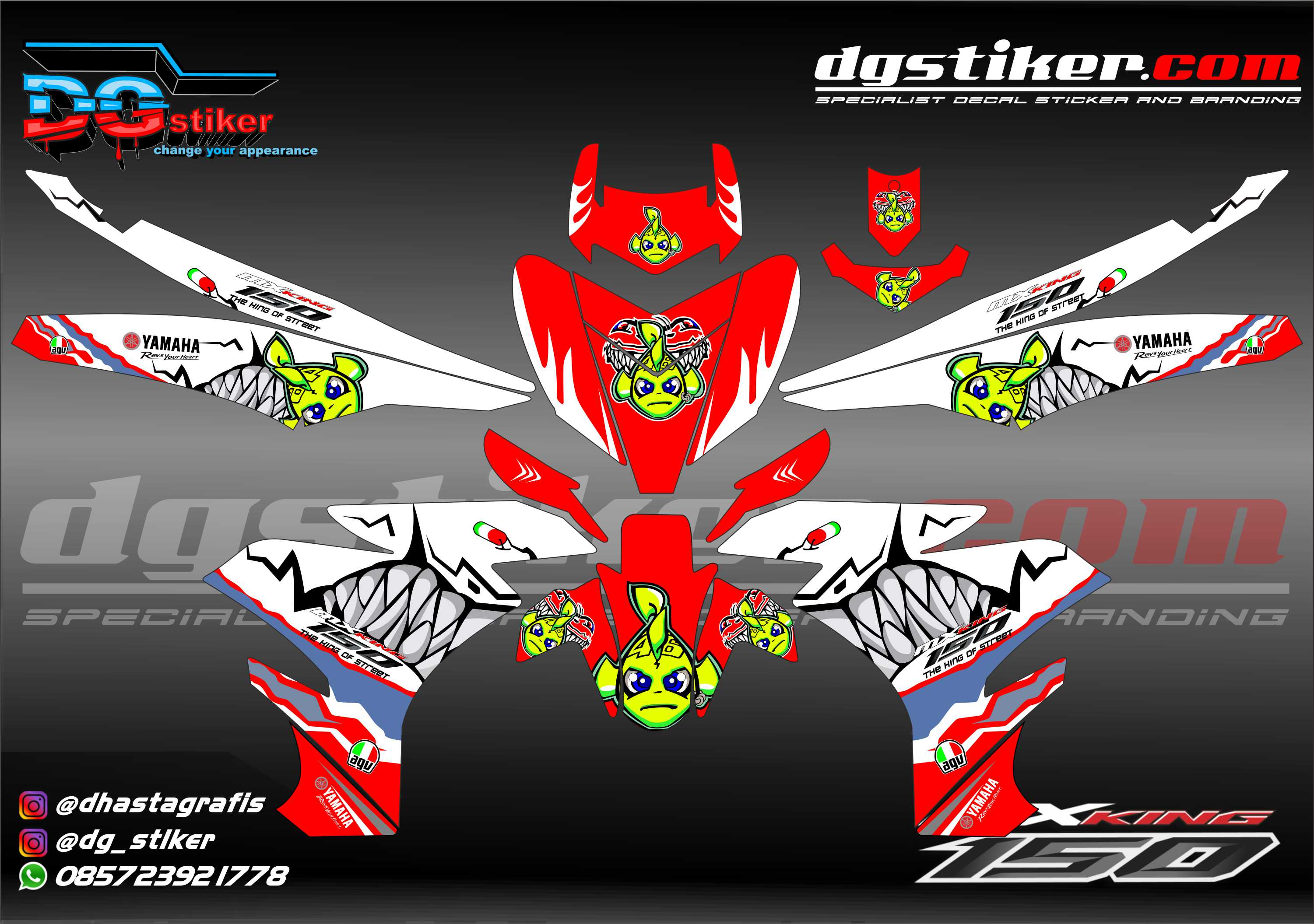Decal Striping Mx King Shark Hiu Putih Merah DG Stiker