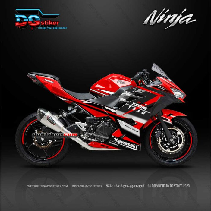 Modifikasi Striping Full Body All New Ninja 250R FI 2018 Racing Red DG Stiker