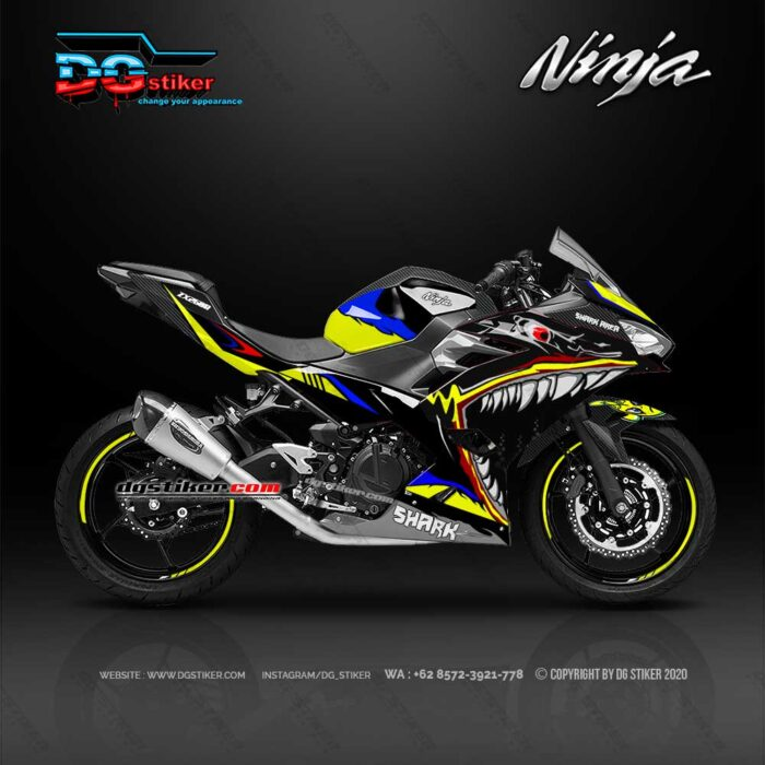 Decal Sticker All New Ninja 250R FI 2018 Hitam Shark DG Stiker