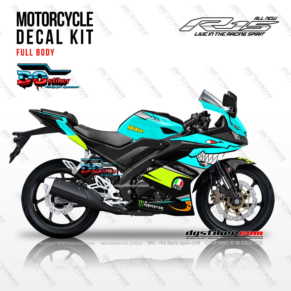 Decal Sticker Full Body R15 V3 Biru Shark Hiu DG Stiker