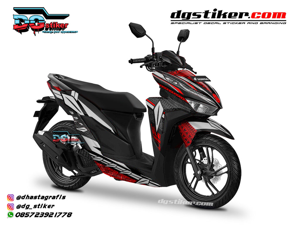 Striping Full Body Vario 150 2018 Hitam Black Panther DG Stiker