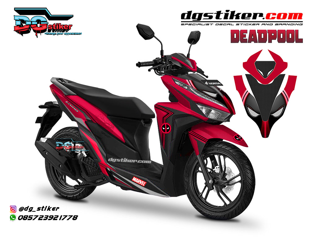 Striping Full Body Vario 150 2018 Merah Deadpool DG Stiker
