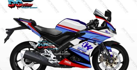 Decal Striping Full Body R15 V3 Putih Biru Modified DG Stiker