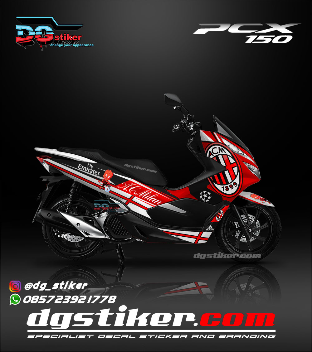 Sticker Decal Full Body Pcx 150 Lokal 2018 AC Milan DG Stiker