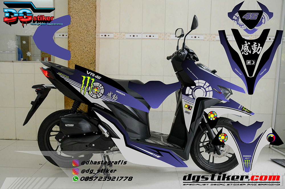 Striping Decal Vario 150 2018 Sunmoon Kanji DG Stiker