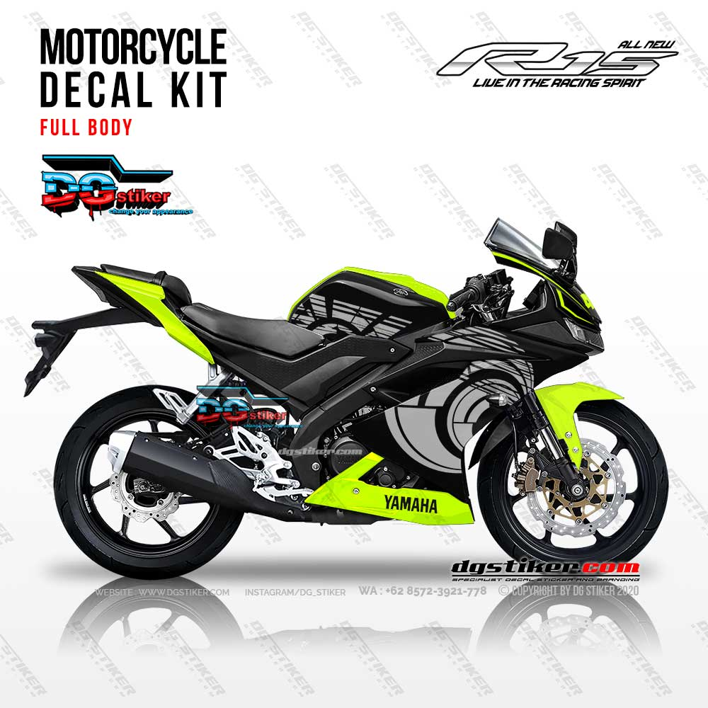 Decal Sticker Full Body R15 V3 Hitam Sunmoon VR46 DG Stiker