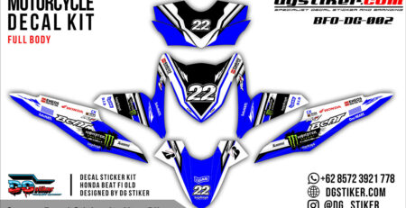 Decal Striping Honda Beat FI Biru Monster Eneos DG Stiker