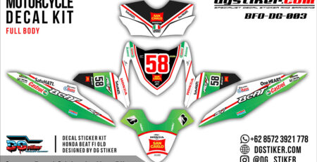 Decal Striping Honda Beat FI Hijau San Carlo DG Stiker