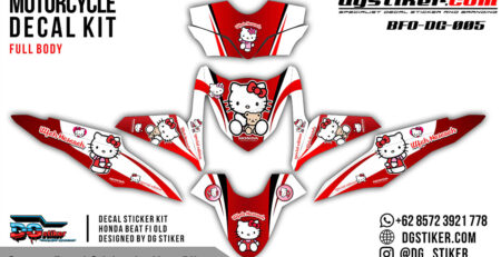 Decal Striping Honda Beat FI Merah Hello Kity DG Stiker