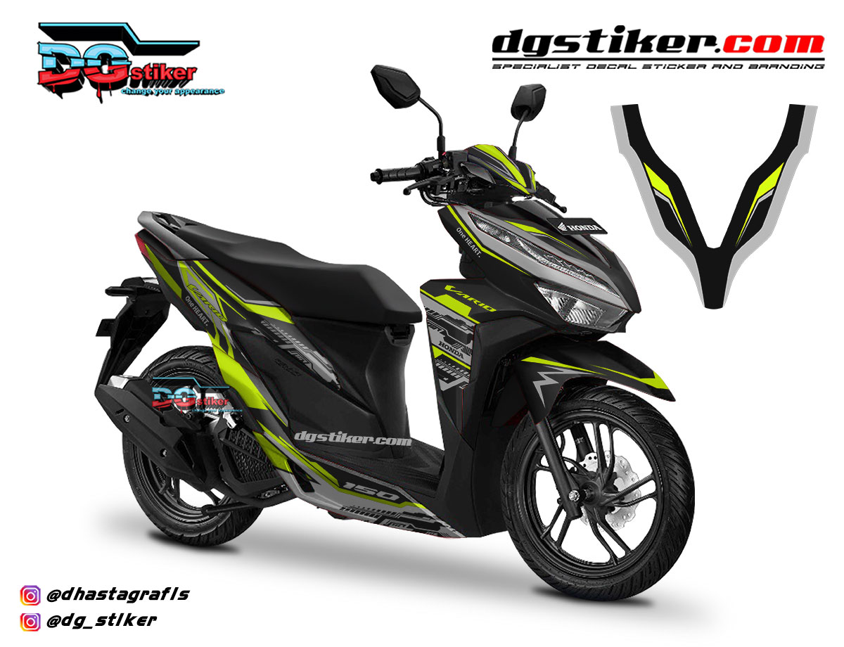 Decal Striping Vario 150 2018 Hitam Hitech DG Stiker