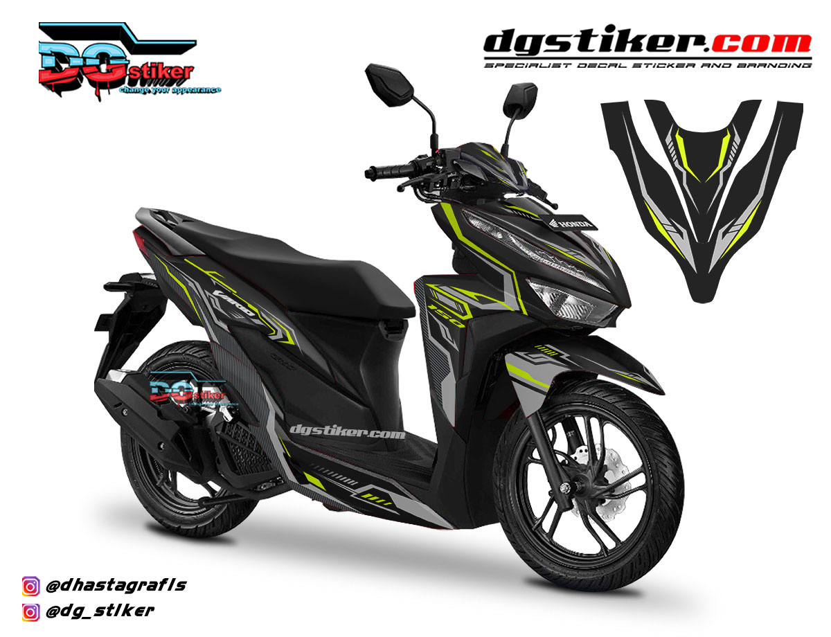 Decal Striping Vario 150 2018 Hitam Hitech V2 DG Stiker