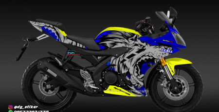 Modifikasi Decal Striping R15 V2 Biru Kuning Serigala DG Stiker