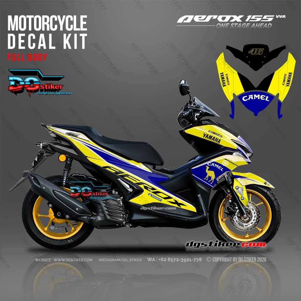 Decal Striping Aerox Kuning Camel DG Stiker