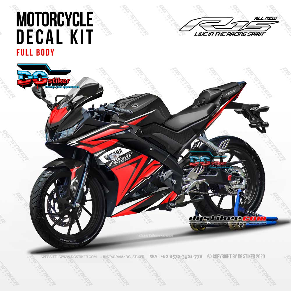Decal Striping Full Body R15 V3 Racing Red Abstract DG Stiker