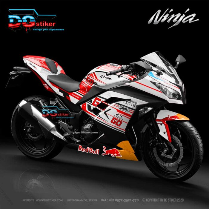 Decal sticker ninja 250 fi putih lotus power up marquez dg stiker