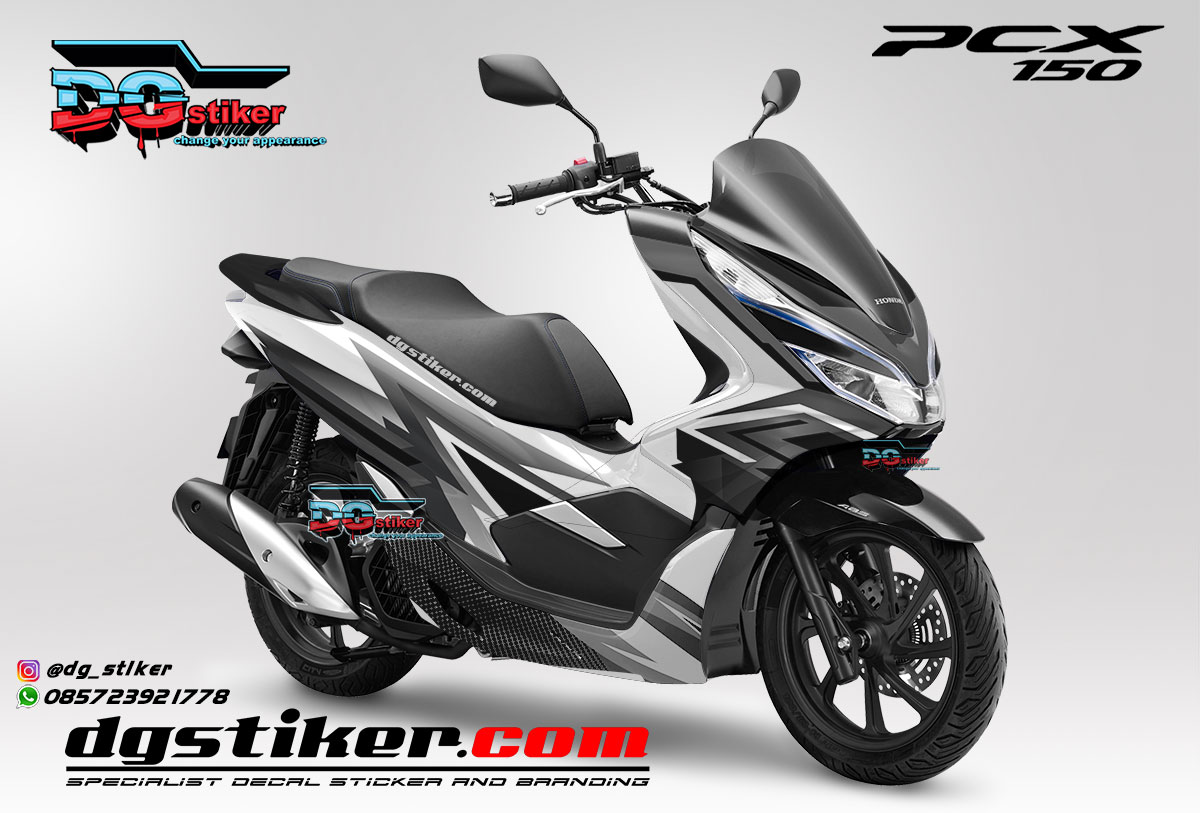 Jual Decal Striping Pcx 150 Lokal 2018 racing monochrome DG Stiker