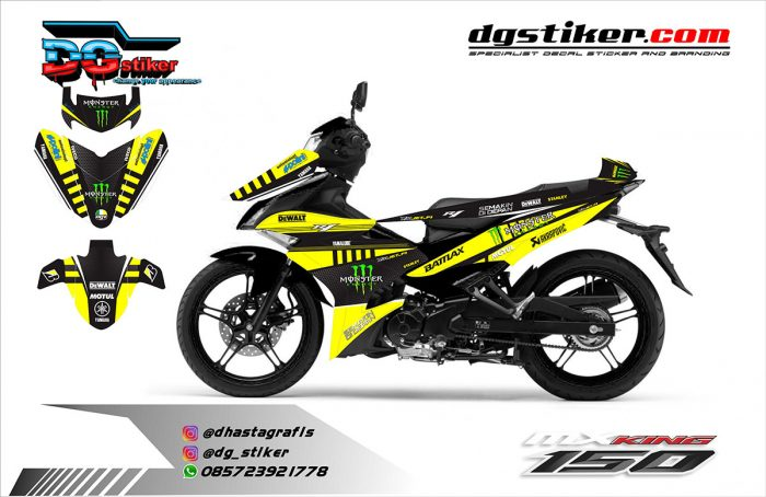 Decal mx king hitam kuning monster dewalt dg stiker dg stiker