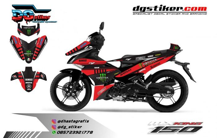 Decal Mx King Hitam Merah Monster Dewalt DG Stiker