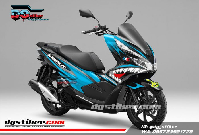 Decal Sticker Honda Pcx New 2018 Lokal Warna Hitam Biru shark DG Stiker
