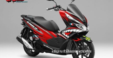 Decal Sticker Honda Pcx New 2018 Lokal Warna Hitam Merah shark DG Stiker