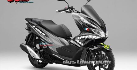 Decal Sticker Honda Pcx New 2018 Lokal Warna Hitam Monochrome shark DG Stiker
